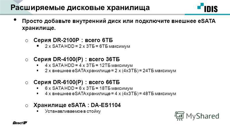 Расширяемые дисковые хранилища Просто добавьте внутренний диск или подключите внешнее eSATA хранилище. o Серия DR-2100P : всего 6TБ 2 x SATA HDD = 2 x 3TБ = 6TБ максимум o Серия DR-4100(P) : всего 36TБ 4 x SATA HDD = 4 x 3TБ = 12TБ максимум 2 x внешн