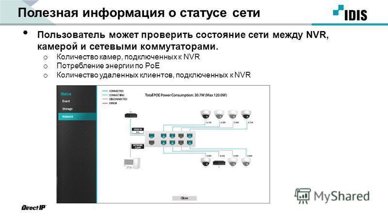 Полезная информация о статусе сети Пользователь может проверить состояние сети между NVR, камерой и сетевыми коммутаторами. o Количество камер, подключенных к NVR o Потребление энергии по PoE o Количество удаленных клиентов, подключенных к NVR