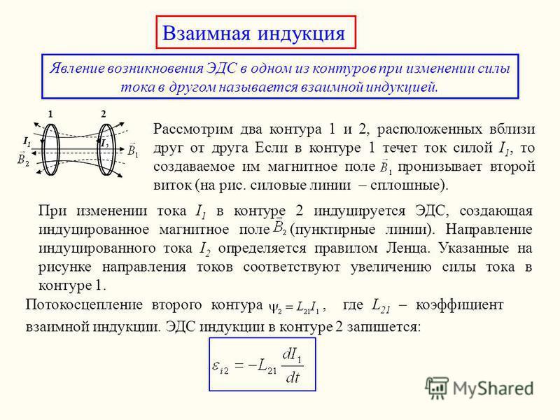 Взаимная индукция Явление возникновения ЭДС в одном из контуров при изменении силы тока в другом называется взаимной индукцией. 12 I1I1 I2I2 Рассмотрим два контура 1 и 2, расположенных вблизи друг от друга Если в контуре 1 течет ток силой I 1, то соз