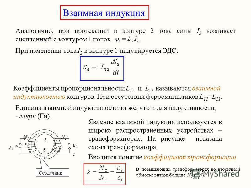 Взаимная индукция Аналогично, при протекании в контуре 2 тока силы I 2 возникает сцепленный с контуром 1 поток При изменении тока I 2 в контуре 1 индуцируется ЭДС: Коэффициенты пропорциональности L 12 и L 21 называются взаимной индуктивностью контуро