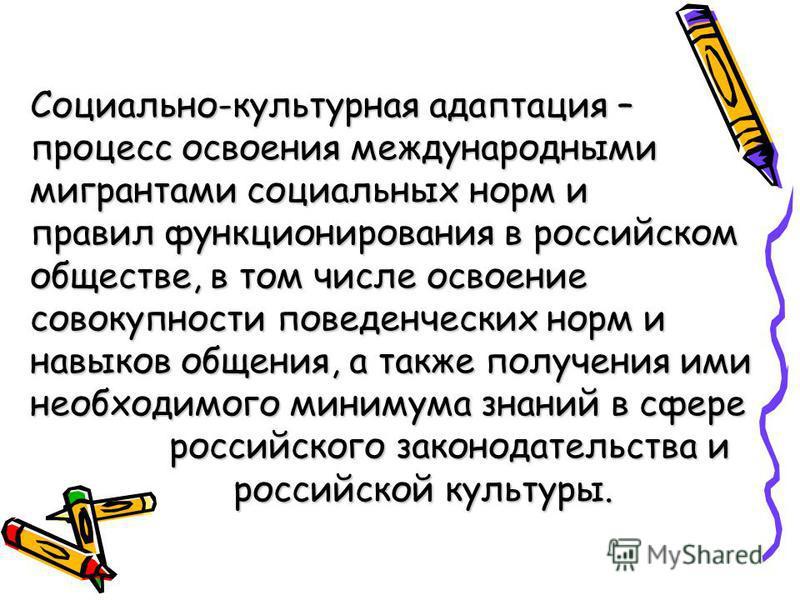 Социально-культурная адаптация – процесс освоения международными мигрантами социальных норм и правил функционирования в российском обществе, в том числе освоение совокупности поведенческих норм и навыков общения, а также получения ими необходимого ми