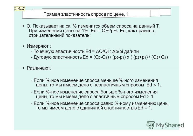 I. M.17 Прямая эластичносеть спроса по цене, 1 Э. Показывает на ск. % изменится объем спроса на данный Т. При изменении цены на 1%. Ed = Q%/p%. Ed, как правило, отрицательныйй показатель; Измеряют : - Точечную эластичносеть Ed = Δ Q/Qi : Δ p/pi да/ил