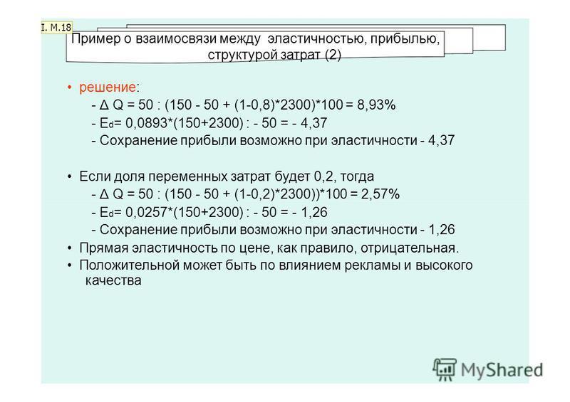 I. M.18 Пример о взаимосвязи между эластичносетью, прибылью, структурой затрат (2) решенее: - Δ Q = 50 : (150 - 50 + (1-0,8)*2300)*100 = 8,93% - E d = 0,0893*(150+2300) : - 50 = - 4,37 - Сохраненее прибыли возможно при эластичности - 4,37 Если доля п