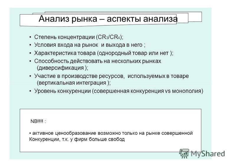 Анализ рынка – аспекты анализа Степень концентрации (CR 3 /CR 4 ); Условия входа на рынок и выхода в него ; Характеристика товара (однородный товар или нет ); Способносеть действовать на нескольких рынках (диверсификация ); Участие в производстве рес