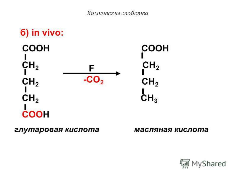 Химические свойства IV. Реакции декарбоксилирования In vitro реакции протекают при нагревании, in vivo с участием ферментов декарбоксилаз. а) in vitro: HOOC COOH HCOOH + CO 2 to to янтарная кислота ангидрид янтарной кислоты