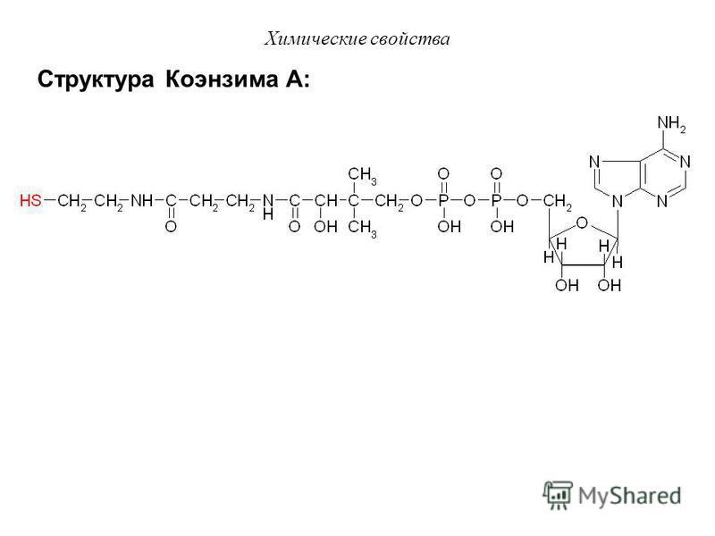 Химические свойства c) Реакции окислительного декарбоксилирования Пример: Превращение ПВК в митохондриях с участием декарбоксилазы (F), дегидрогеназы (НАД + ) и кофермента А (HS – KoA). O H 3 C C COOH H 3 C C O H O H 3 C C + НАД·H - -H + S KoA F -CO