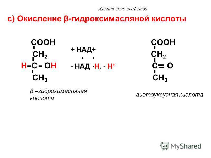 Химические свойства b) Окисление яблочной кислоты COOH COOH HO C H C O CH 2 CH 2 COOH COOH яблочная кислота + НАД+ - НАД ·H, - H + щавелевоуксусная кислота