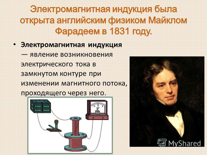 Электромагнитная индукция явление возникновения электрического тока в замкнутом контуре при изменении магнитного потока, проходящего через него.