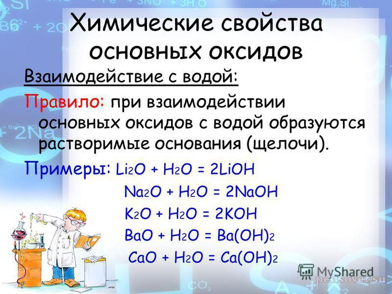 Химические свойства основных оксидов Взаимодействие с водой: Правило: при взаимодействии основных оксидов с водой образуются растворимые основания (щелочи). Примеры: Li 2 O + H 2 O = 2LiOH Na 2 O + H 2 O = 2NaOH K 2 O + H 2 O = 2KOH BaO + H 2 O = Ba(