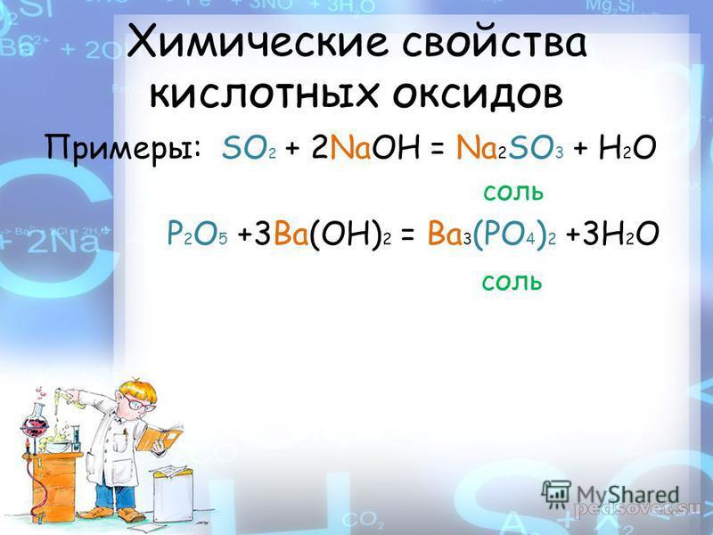 Химические свойства кислотных оксидов Примеры: SO 2 + 2NaOH = Na 2 SO 3 + H 2 O соль P 2 O 5 +3Ba(OH) 2 = Ba 3 (PO 4 ) 2 +3H 2 O соль