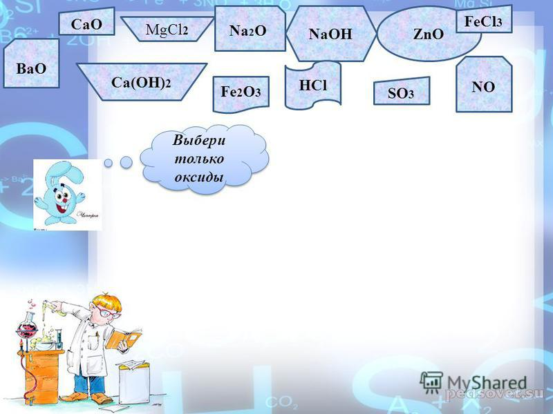 CaO MgCl 2 Na 2 O NaOHZnO FeCl 3 BaO Ca(OH) 2 Fe 2 O 3 HCl SO 3 NO Выбери только оксиды