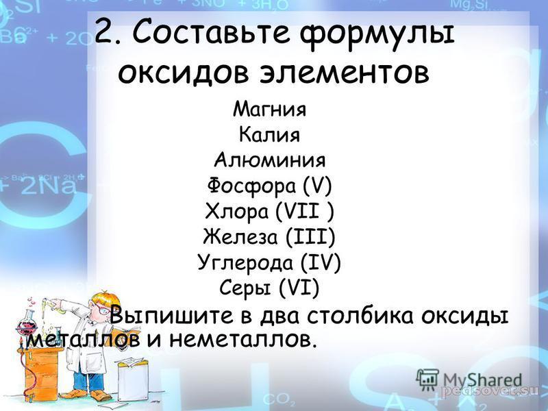 2. Составьте формулы оксидов элементов Магния Калия Алюминия Фосфора (V) Хлора (VII ) Железа (III) Углерода (IV) Серы (VI) Выпишите в два столбика оксиды металлов и неметаллов.