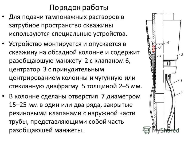 Порядок работы Для подачи тампонажных растворов в затрубное пространство скважины используются специальные устройства. Устройство монтируется и опускается в скважину на обсадной колонне и содержит разобщающую манжету 2 с клапаном 6, центратор 3 с при