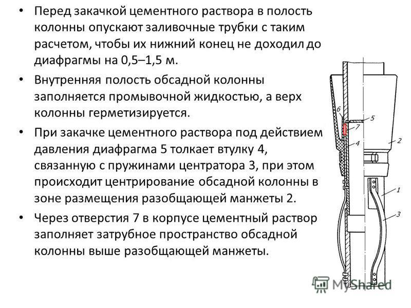Перед закачкой цементного раствора в полость колонны опускают заливочные трубки с таким расчетом, чтобы их нижний конец не доходил до диафрагмы на 0,5–1,5 м. Внутренняя полость обсадной колонны заполняется промывочной жидкостью, а верх колонны гермет