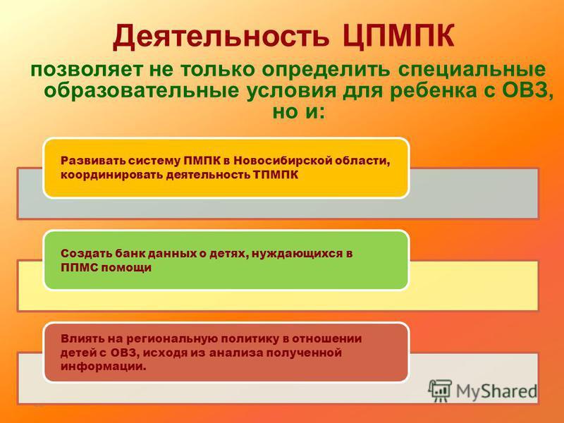 21 Деятельность ЦПМПК позволяет не только определить специальные образовательные условия для ребенка с ОВЗ, но и: Развивать систему ПМПК в Новосибирской области, координировать деятельность ТПМПК Создать банк данных о детях, нуждающихся в ППМС помощи