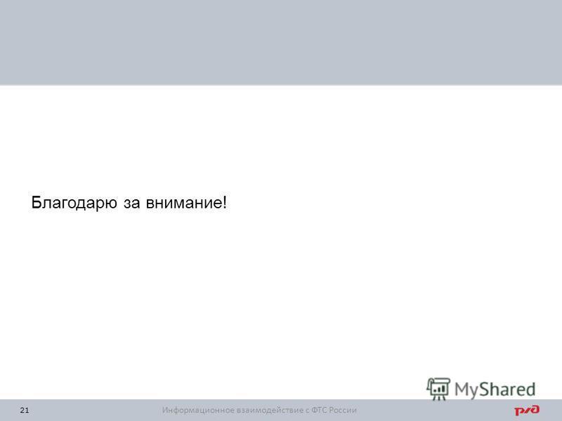 Благодарю за внимание! 21 Информационное взаимодействие с ФТС России