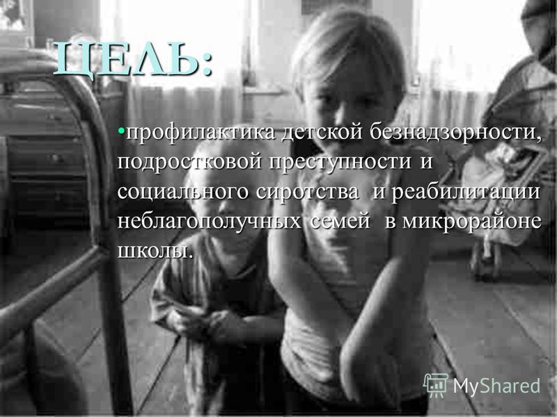 ЦЕЛЬ: профилактика детской безнадзорности, подростковой преступности и социального сиротства и реабилитации неблагополучных семей в микрорайоне школы.профилактика детской безнадзорности, подростковой преступности и социального сиротства и реабилитаци