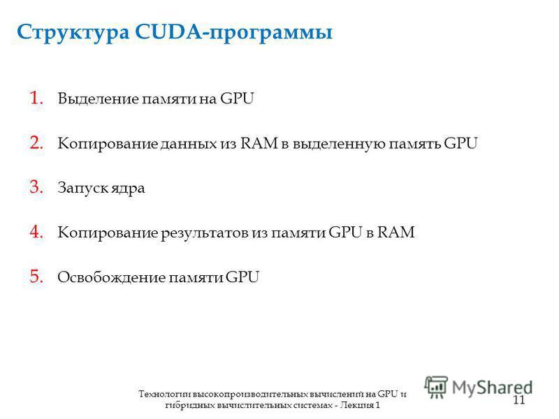 Структура CUDA-программы 11 Технологии высокопроизводительных вычислений на GPU и гибридных вычислительных системах - Лекция 1 1. Выделение памяти на GPU 2. Копирование данных из RAM в выделенную память GPU 3. Запуск ядра 4. Копирование результатов и