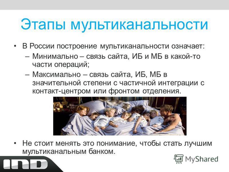 Этапы мультиканальности В России построение мультиканальности означает: –Минимально – связь сайта, ИБ и МБ в какой-то части операций; –Максимально – связь сайта, ИБ, МБ в значительной степени с частичной интеграции с контакт-центром или фронтом отдел