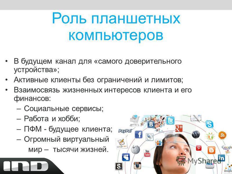 Роль планшетных компьютеров В будущем канал для «самого доверительного устройства»; Активные клиенты без ограничений и лимитов; Взаимосвязь жизненных интересов клиента и его финансов: –Социальные сервисы; –Работа и хобби; –ПФМ - будущее клиента; –Огр