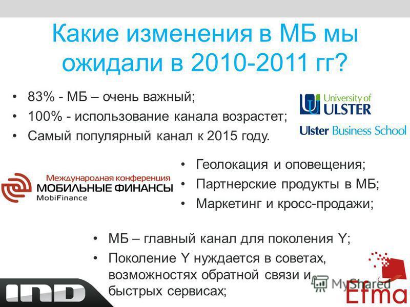 Какие изменения в МБ мы ожидали в 2010-2011 гг? 83% - МБ – очень важный; 100% - использование канала возрастет; Самый популярный канал к 2015 году. Геолокация и оповещения; Партнерские продукты в МБ; Маркетинг и кросс-продажи; МБ – главный канал для