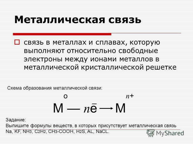 Металлическая связь связь в металлах и сплавах, которую выполняют относительно свободные электроны между ионами металлов в металлической кристаллической решетке о п + М п е М Схема образования металлической связи: Задание: Выпишите формулы веществ, в