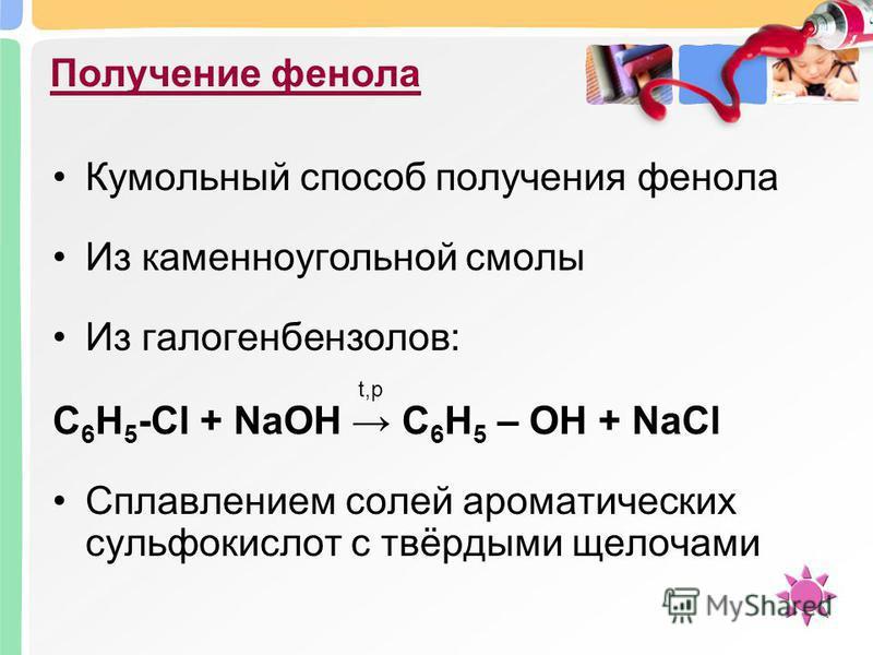 Получение фенола Кумольный способ получения фенола Из каменноугольной смолы Из галогенбензолов: С 6 H 5 -Cl + NaOH С 6 H 5 – OH + NaCl Сплавлением солей ароматических сульфокислот с твёрдыми щелочами t,p