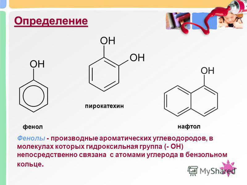 Определение пирокатехин нафтол фенол Фенолы - производные ароматических углеводородов, в молекулах которых гидроксильная группа (- ОН) непосредственно связана с атомами углерода в бензольном кольце.