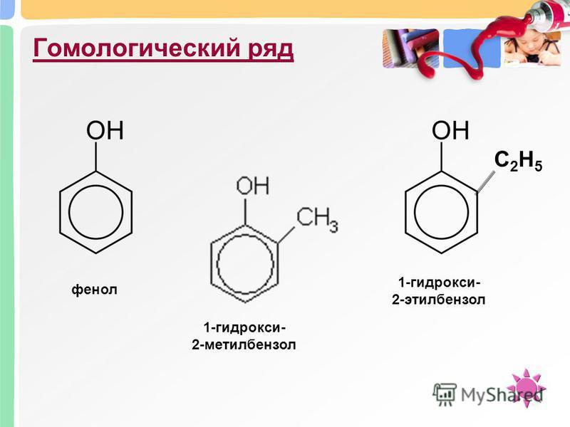 Гомологический ряд фенол 1-гидрокси- 2-метилбензол С2Н5С2Н5 1-гидрокси- 2-этилбензол