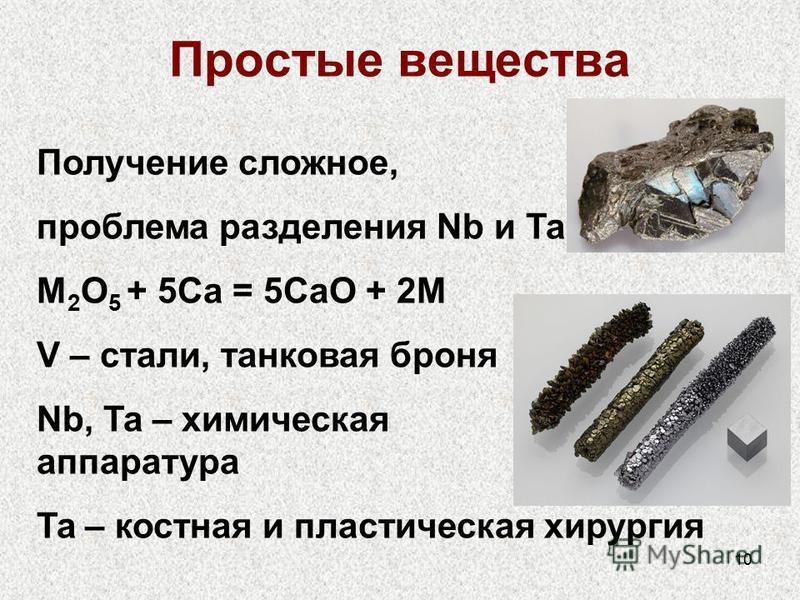 10 Простые вещества Получение сложное, проблема разделения Nb и Ta M 2 O 5 + 5Ca = 5CaO + 2M V – стали, танковая броня Nb, Ta – химическая аппаратура Ta – костная и пластическая хирургия