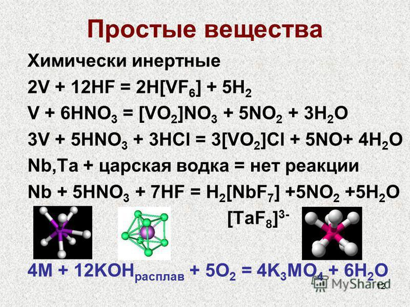 12 Простые вещества Химически инертные 2V + 12HF = 2H[VF 6 ] + 5H 2 V + 6HNO 3 = [VO 2 ]NO 3 + 5NO 2 + 3H 2 O 3V + 5HNO 3 + 3HCl = 3[VO 2 ]Cl + 5NO+ 4H 2 O Nb,Ta + царская водка = нет реакции Nb + 5HNO 3 + 7HF = H 2 [NbF 7 ] +5NO 2 +5H 2 O [TaF 8 ] 3