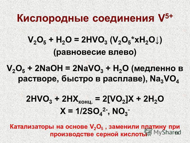 14 Кислородные соединения V 5+ V 2 O 5 + H 2 O = 2HVO 3 (V 2 O 5 *xH 2 O) (равновесие влево) V 2 O 5 + 2NaOH = 2NaVO 3 + H 2 O (медленно в растворе, быстро в расплаве), Na 3 VO 4 2HVO 3 + 2HX конц. = 2[VO 2 ]X + 2H 2 O X = 1/2SO 4 2-, NO 3 - Катализа