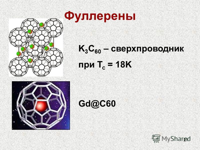 21 Фуллерены K 3 C 60 – сверхпроводник при T c = 18K Gd@C60