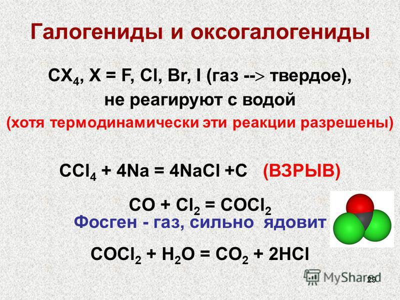 29 Галогениды и оксогалогениды CX 4, X = F, Cl, Br, I (газ -- твердое), не реагируют с водой (хотя термодинамически эти реакции разрешены) СCl 4 + 4Na = 4NaCl +C (ВЗРЫВ) СO + Cl 2 = COCl 2 Фосген - газ, сильно ядовит COCl 2 + H 2 O = CO 2 + 2HCl