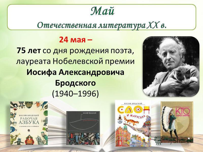 24 мая – 75 лет со дня рождения поэта, лауреата Нобелевской премии Иосифа Александровича Бродского (1940–1996) 10