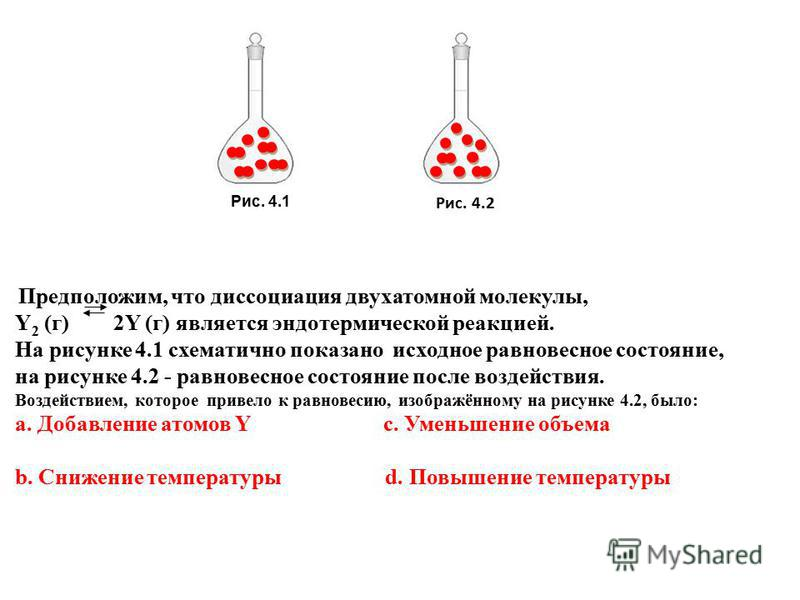 Рис. 4.1 Рис. 4.2 Предположим, что диссоциация двухатомной молекулы, Y 2 (г) 2Y (г) является эндотермической реакцией. На рисунке 4.1 схематично показано исходное равновесное состояние, на рисунке 4.2 - равновесное состояние после воздействия. Воздей