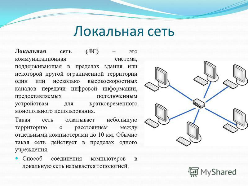 Локальная сеть Локальная сеть (ЛС) – это коммуникационная система, поддерживающая в пределах здания или некоторой другой ограниченной территории один или несколько высокоскоростных каналов передачи цифровой информации, предоставляемых подключенным ус