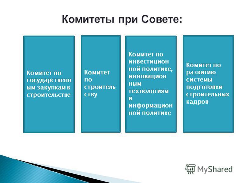 1 Комитет по строительству Комитет по государственным закупкам в строительстве Комитет по инвестиционной политике, инновационным технологиям и информационной политике Комитет по развитию системы подготовки строительных кадров