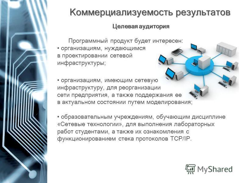Коммерциализуемость результатов Коммерциализуемость результатов организациям, имеющим сетевую инфраструктуру, для реорганизации сети предприятия, а также поддержания ее в актуальном состоянии путем моделирования; образовательным учреждениям, обучающи