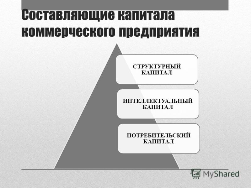 Составляющие капитала коммерческого предприятия ПОТРЕБИТЕЛЬСКИЙ КАПИТАЛ ИНТЕЛЛЕКТУАЛЬНЫЙ КАПИТАЛ СТРУКТУРНЫЙ КАПИТАЛ
