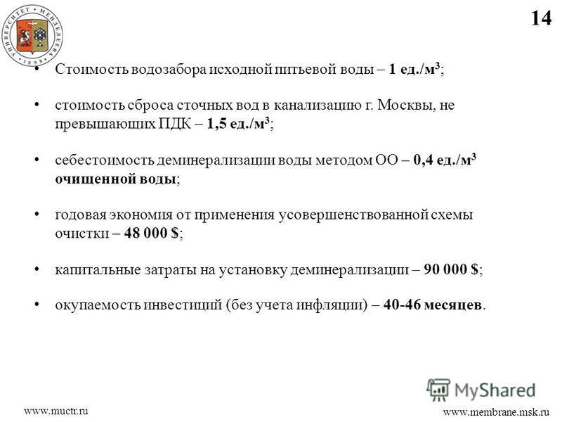 14 www.membrane.msk.ru www.muctr.ru Стоимость водозабора исходной питьевой воды – 1 ед./м 3 ; стоимость сброса сточных вод в канализацию г. Москвы, не превышающих ПДК – 1,5 ед./м 3 ; себестоимость деминерализации воды методом ОО – 0,4 ед./м 3 очищенн