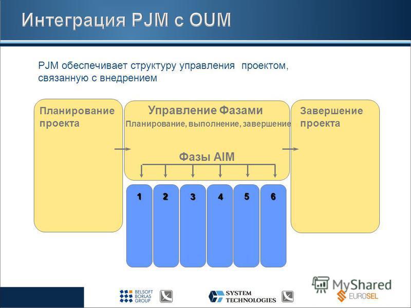 PJM обеспечивает структуру управления проектом, связанную с внедрением Планирование проекта Управление Фазами Завершение проекта Планирование, выполнение, завершение 1 2 34 5 6 Фазы AIM