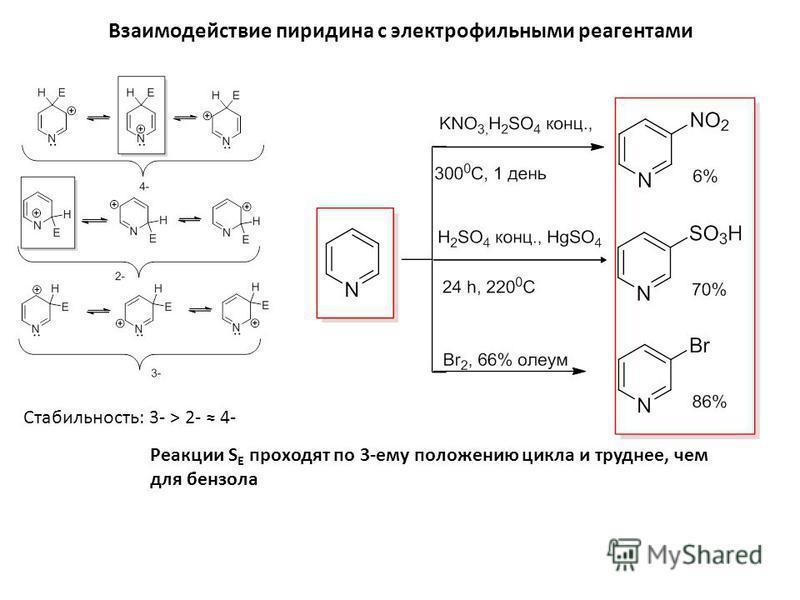 Взаимодействие пиридина с электрофильными реагентами Реакции S E проходят по 3-ему положению цикла и труднее, чем для бензола Стабильность: 3- > 2- 4-
