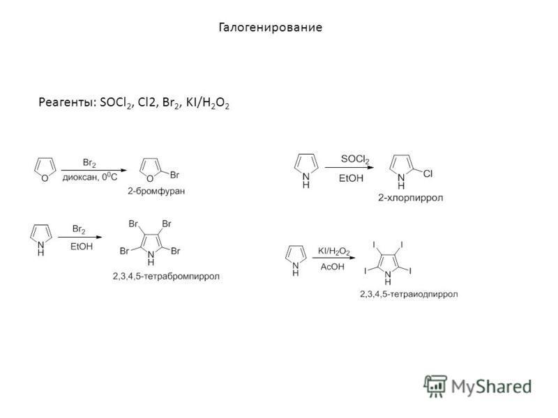 Галогенирование Реагенты: SOCl 2, Cl2, Br 2, KI/H 2 O 2