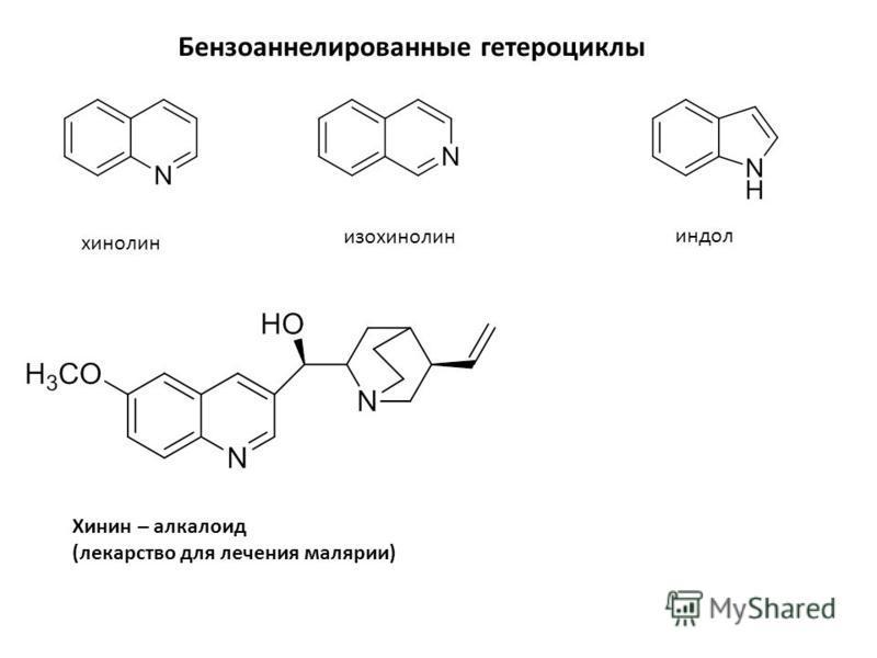 Бензоаннелированные гетероциклы хинолин изохинолин индол Хинин – алкалоид (лекарство для лечения малярии)