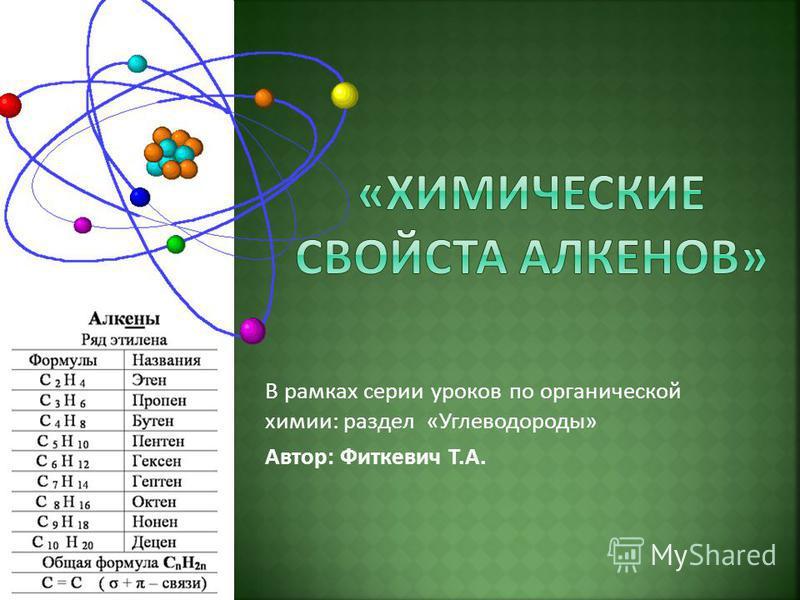 В рамках серии уроков по органической химии: раздел «Углеводороды» Автор: Фиткевич Т.А.