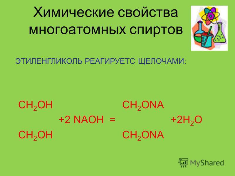 Химические свойства многоатомных спиртов ЭТИЛЕНГЛИКОЛЬ РЕАГИРУЕТС ЩЕЛОЧАМИ: CH 2 OH CH 2 ONA +2 NAOH = +2H 2 O CH 2 OH CH 2 ONA