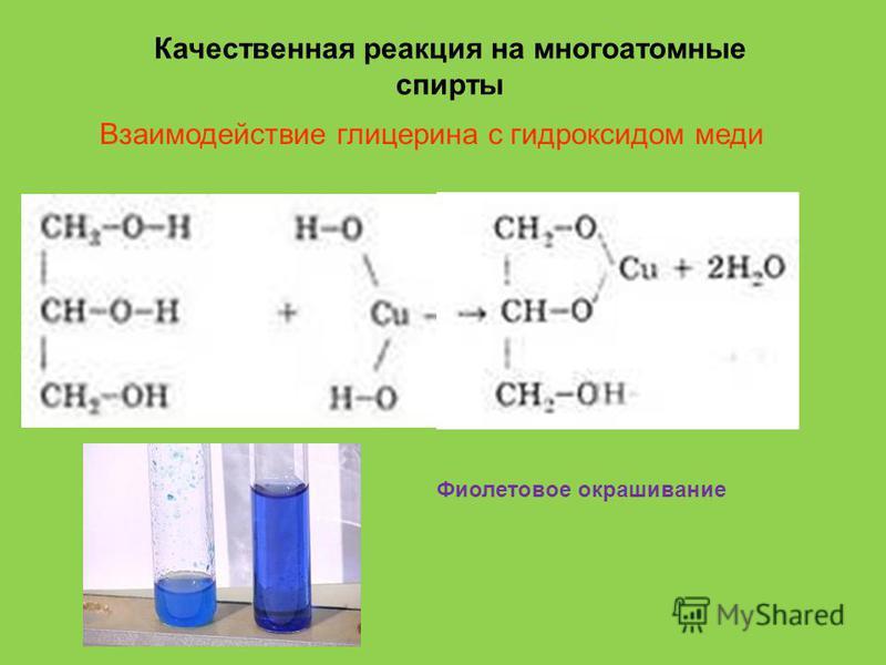 Качественная реакция на многоатомные спирты Взаимодействие глицерина с гидроксидом меди Фиолетовое окрашивание