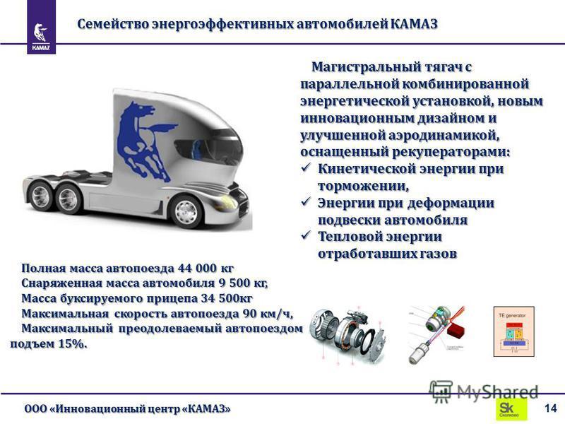 Семейство энергоэффективных автомобилей КАМАЗ 14 ООО «Инновационный центр «КАМАЗ» Магистральный тягач с параллельной комбинированной энергетической установкой, новым инновационным дизайном и улучшенной аэродинамикой, оснащенный рекуператорами: Кинети