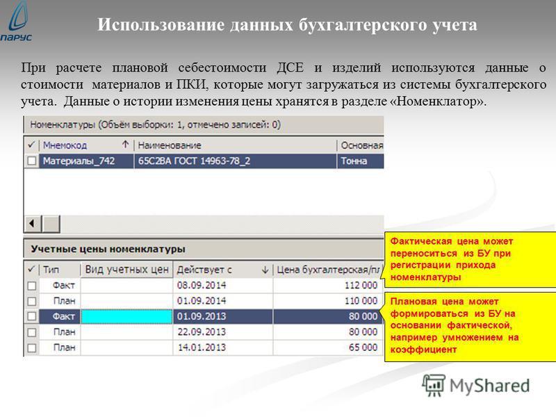 Использование данных бухгалтерского учета При расчете плановой себестоимости ДСЕ и изделий используются данные о стоимости материалов и ПКИ, которые могут загружаться из системы бухгалтерского учета. Данные о истории изменения цены хранятся в разделе
